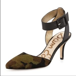 Sam Edelman calf hair camo pumps w/ankle strap